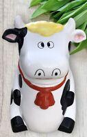"Vintage Ceramic Cow Cookie Jar Black White Smiling Bell Yellow Hair 10"""