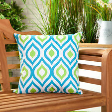 Blue & Lime Abstract Water Resistant Outdoor Printed Garden Scatter Cushion Cane