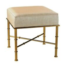 NEW UPHOLSTERED GOLD BAMBOO CANE CHINOISERIE ASIAN OTTOMAN STOOL