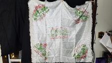 "Vintage Aloha Hawaii Souvenir Damask Table Cloth 3 napkins WWII 1940's 46""x 46"""