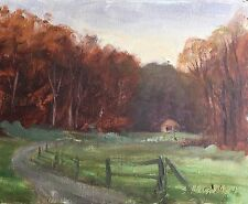 Original Oil Painting Brown County Indiana Farm Morning Light 2 Hills 8x10 Haigh