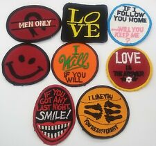 More details for 8x rare naughty patch set genuine vintage/retro sew on patch set.
