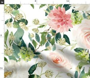 Pink Flowers Floral Nursery Shabby Chic Boho Baby Spoonflower Fabric by the Yard