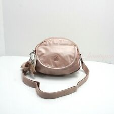 NWT Kipling K70120 Stelma Crossbody Small Shoulder Bag Nylon Rose Gold Metallic