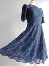 Vestido de Encaje Hobbs Azul Marino ajustado y acampanado talla 8