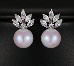 Marquise Cut Crystal and Simulated Pearl Pierced Earrings - New in Gift Box