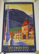 Affiche originale Chemins de fer d'Alsace et  Lorraine Les trois épis Turckheim