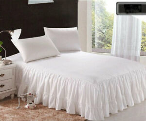 "1 Piece 800tc Egyptian Cotton Bottom Ruffle Bed Spread 20"" drop all size & color"