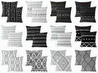 "2 Pack 16x16"" Black & White Premium Throw PILLOW COVER Sofa Couch Cushion Case"