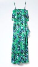 Banana Republic Floral Tiered Flounce Maxi Dress Green Sz 2 (1631A8)