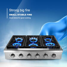 """Pro-Style 36"""" THOR KITCHEN Stainless HRT3618U Gas Cooktop Rangetop, Six Burners"""