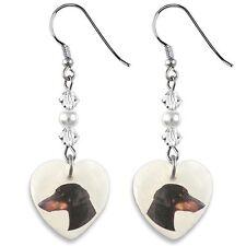 Doberman Pinscher 925 Sterling Silver Heart Mother Of Pearl Dangle Earrings EP69