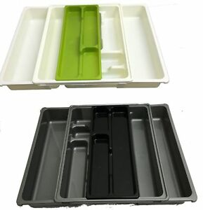 EXTENDABLE 9 COMPARTMENT ADJUSTABLE PLASTIC CUTLERY HOLDER DRAWER TRAY ORGANIZER