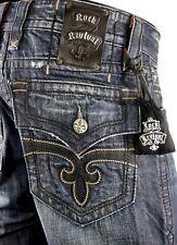 """$220 Mens Rock Revival Jean """"Steven"""" Black Leather Insert Straight Leg 32 X 32"""