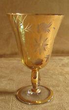 ancien verre à surface dorée gravée début XX ème