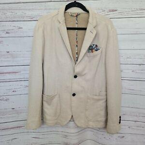 ZARA MAN size EU 54 US 44 stretch knit sportscoat blazer jacket pocket square