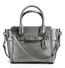 NWT❤️ $350 COACH Leather Swagger 21 Satchel Metallic Gunmetal Dark Silver #37444