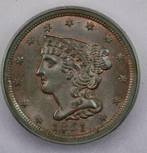 1851 H1c 1/2c half cent ICG MS64 BR
