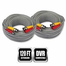 New 2X 60FT Video Power Cable BNC RCA Cord for CCTV Home Security Camera System