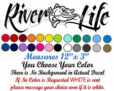 River Life Decal with Mean Catfish in the Center Sticker Fishing Fisherman Cat
