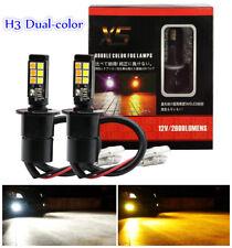 2PCS H3 160W LED 6000K White/3000K Orange Dual Color Fog Driving Light DRL Bulb