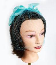 Vintage Womens 60s Birdcage Hair Net Veil Aqua Teal Color Large Bow