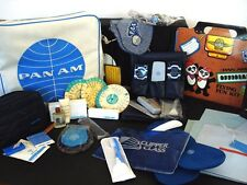 Pan Am Airline vintage white logo bag plus memorabilia & amenity kits Inv1424