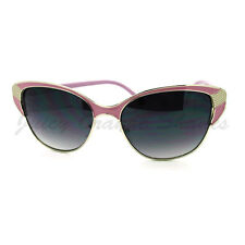 Womens Vintage Retro Fashion Sunglasses Half Rim Cateye Shades Purple