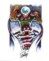 ORIGINAL ART PRINT of SPIDER-MAN vs MYSTERIO, by SMITTY (SHIPS FREE)*