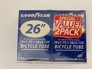 "Good Year 26"" Bicycle Tube (2) Pk 26x1.75 to 26x2.125"