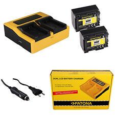 2x Batteria Patona + caricabatteria rapido DUAL LCD per Canon Legria HF-G10