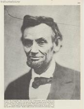 Abraham Lincoln 1863 Last Photograph 16th President Vintage from Book 1976 Rare