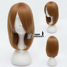 Brown Short 45cm Party Cosplay Anime Women Men Heat Resistant Wig+Cap