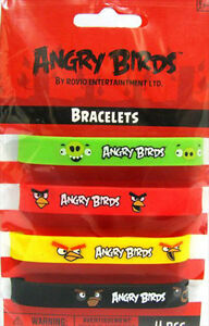 ANGRY BIRDS BRACELETS (4) ~ Birthday Party Supplies Favors Wristbands Silicone