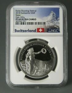 2018 Proof Switzerland 50 Franc Stans Silver Coin Certified NGC PF 69 UC