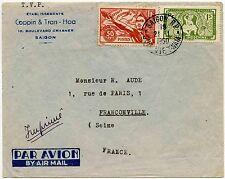 INDOCHINA VIETNAM COPPIN & TRAN PRINTED 1950 VF AIRMAIL...SPORTS+APSARA