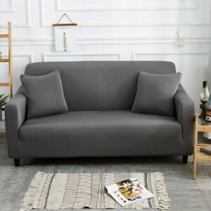 Simple Pure Color Sofa Cover 1/2/3/4 Seat Couch Protector Slipcover Stretch Set