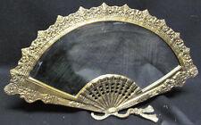 Art Deco Ornate Brass Ladies Boudoir Mirror French Fan Shape