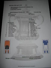 1949 FA Cup Final Wolverhampton Wanderers v Leicester City Matchsheet