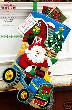 "Bucilla Christmas On The Farm ~ 18"" Felt Stocking Kit by Merry Stockings, Santa"