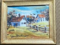 """Mini Jan Hartman """"A Farm Scene"""" Watercolor Painting - Signed And Framed"""