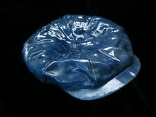 Vintage Unique art pottery ceramic blue denim cabbie cap, Lennon hat ashtray