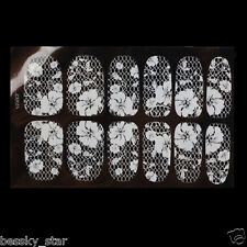White Lace DIY Decoration Crystal Nail Art Tips Stickers Wraps Decal Manicure  B
