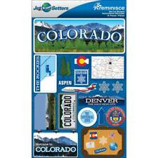 Scrapbooking Crafts Stickers 3D Colorado Denver Aspen Suitcase License Plate Map