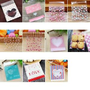 50/100p Love Cute Plastic Transparent Cellophane Candy Cookie Gift Bag For Biscu
