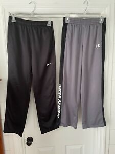 Lot of 2 Nike Under Armour Boys Athletic Pants Size Youth XL Black Grey Therma