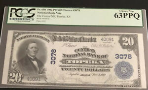 1902-$20PB-the Central NB of TOPEKA, KS. PCGS 63PPQ. A Nice Note For Collector.