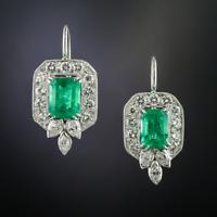 14K Gold Over Vintage Art Deco 7Ctw Diamond/Emerald Mid Century Earring 1920's