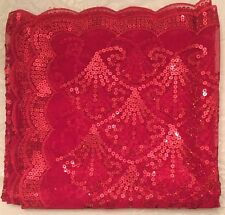 """Henna Night Red 100% Lace Sparkly Sequins Mesh Square Scarf Hijab And Belt 42"""""""
