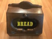 Nice Vintage Old Wood Bread Box With Window